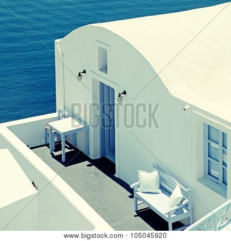 Traditional White House And Sea View Terrace, Oia, Santorini Island, Greece.