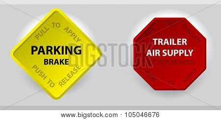 Truck Parking Brake Knob And Trailer Air Supply Knob