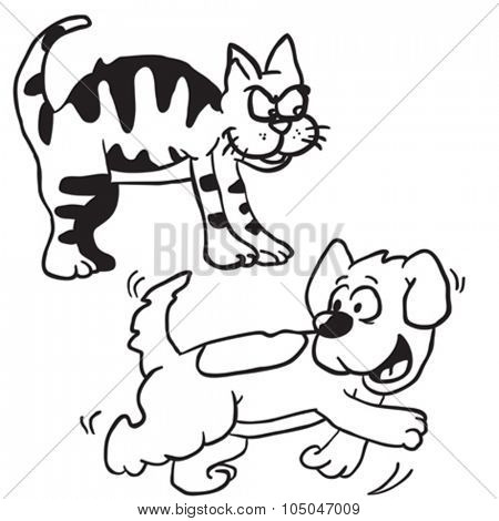 simple black and white cat and dog cartoon
