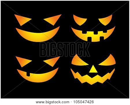 Halloween Scary Pumpkin Face Vector Illustration Set, Jack O Lantern Smile Isolated On Black Backgro