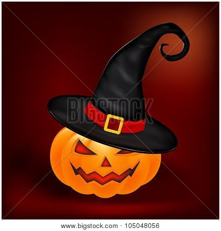 Halloween Pumpkin In Hat Vector Illustration, Jack O Lantern On Gradient Mesh Background. Scary Oran