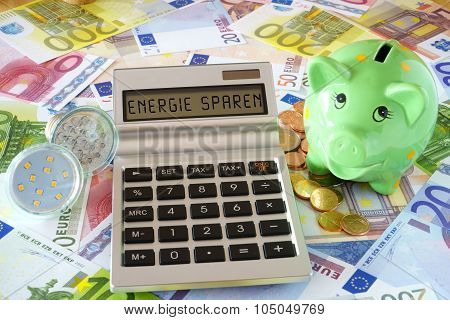 The Words Saving Energy On Calculator Display