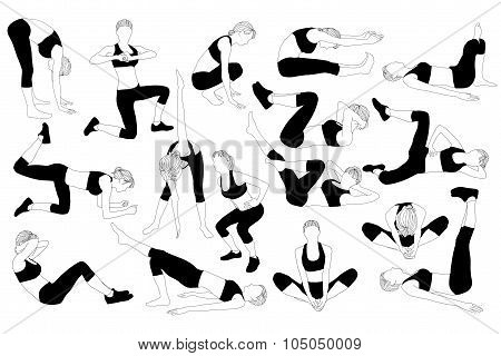 Collection workout silhouettes of women different poses