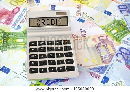 The Word Credit On Calculator Display