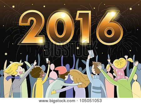 People celebrating New Year's Eve 2016