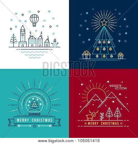 Merry Christmas Outline Label Set Holiday Element