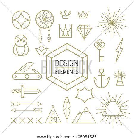 Design Element Set Outline Line Art Shapes