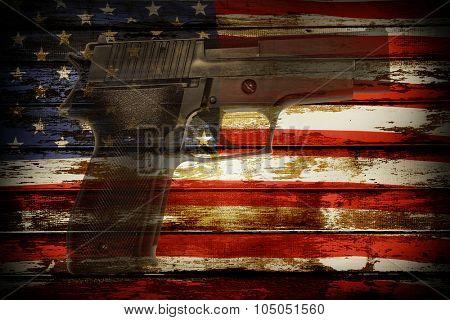 Handgun and American flag