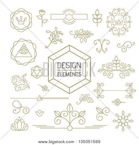 Design Element Set Mono Line Art Ornamental Nature