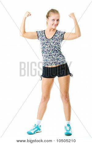 Happy woman flexing her arms