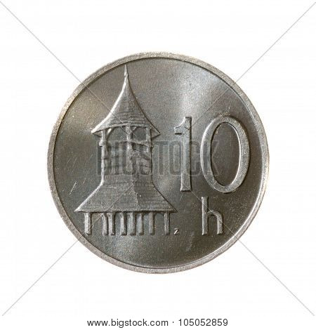 Coin Ten Hellers Slovakia Isolated On A White Background. Top View .