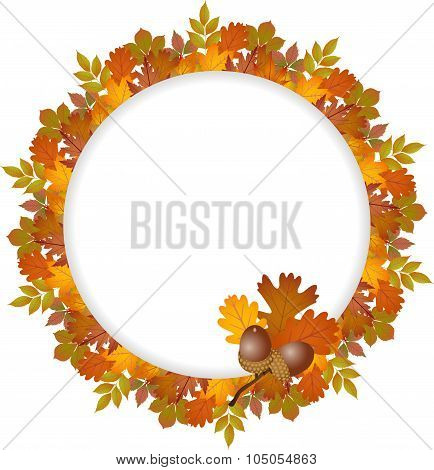 Autumn leaves round frame