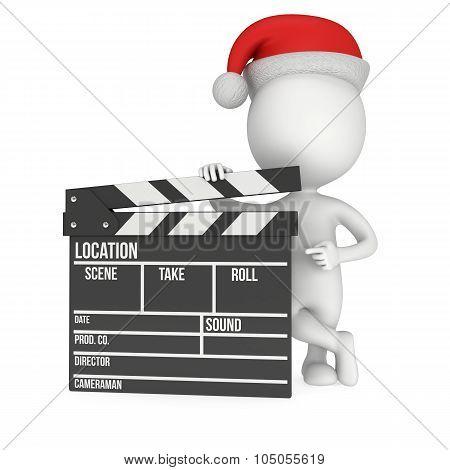 Santa With Cinema Clapperboard.