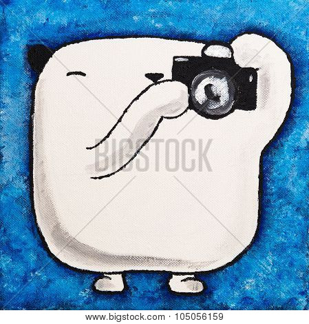 Acrylic picture white teddy bear Photographer