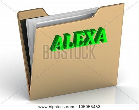 Alexa- Bright Green Letters On Gold Paperwork Folder