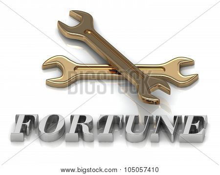 Fortune- Inscription Of Metal Letters And 2 Keys