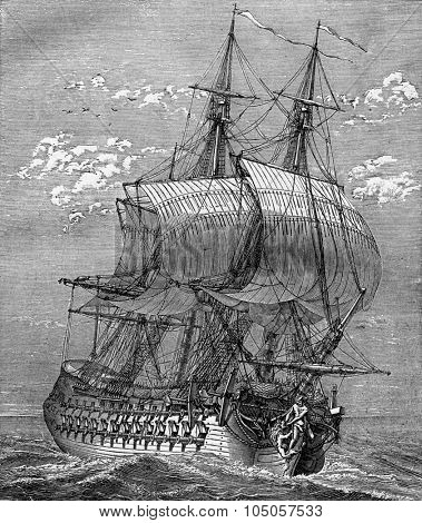 War Frigate, vintage engraved illustration. Industrial encyclopedia E.-O. Lami - 1875.