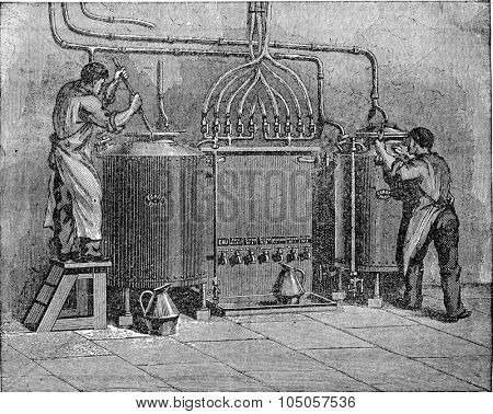 Total leave of manufacturing a factory liqueurs, vintage engraved illustration. Industrial encyclopedia E.-O. Lami - 1875.