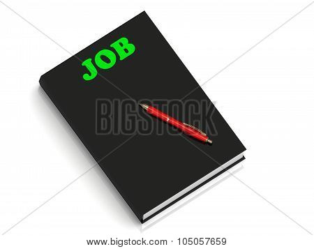 Job- Inscription Of Green Letters On Black Book