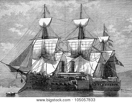 Battleship reduced central, vintage engraved illustration. Industrial encyclopedia E.-O. Lami - 1875.