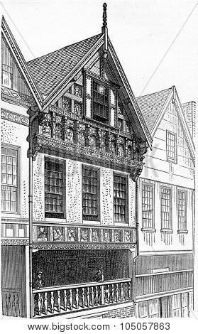 Chester House, vintage engraved illustration. Industrial encyclopedia E.-O. Lami - 1875.