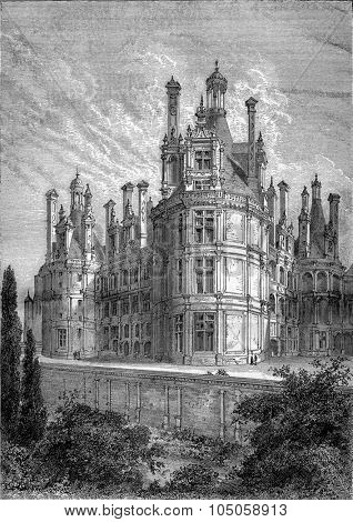 Chambord Castle with its ancient graves, vintage engraved illustration. Industrial encyclopedia E.-O. Lami - 1875.
