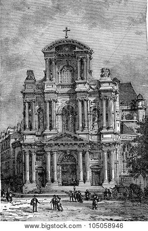 Portal of Saint-Gervais, vintage engraved illustration. Industrial encyclopedia E.-O. Lami - 1875.