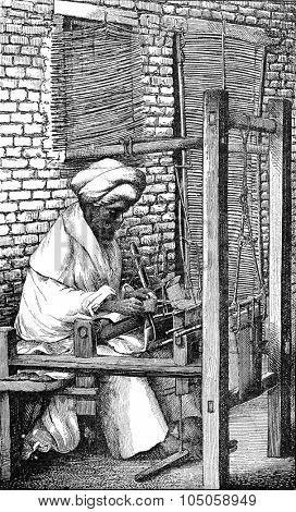 Weaver Indian cashmere, vintage engraved illustration. Industrial encyclopedia E.-O. Lami - 1875.