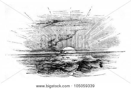 Light, vintage engraved illustration.