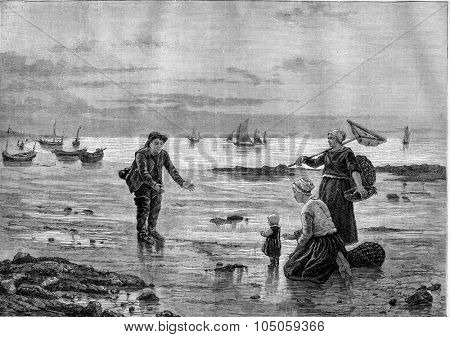 Salon of 1882; Painting. On the beach, table F. Blayn, vintage engraved illustration. Magasin Pittoresque 1882.