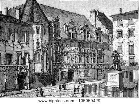 The Grenoble Courthouse, vintage engraved illustration. Magasin Pittoresque 1882.