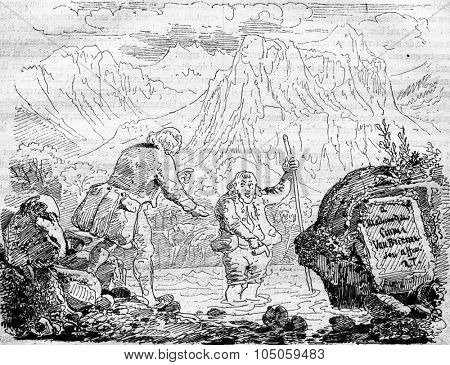 Master, I'm burning! Discover the source of the baths of Lavey (Switzerland), vintage engraved illustration. Magasin Pittoresque 1882.