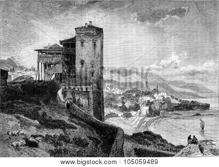 View of Trebizond, Southern side of the Black Sea, vintage engraved illustration. Magasin Pittoresque 1882.