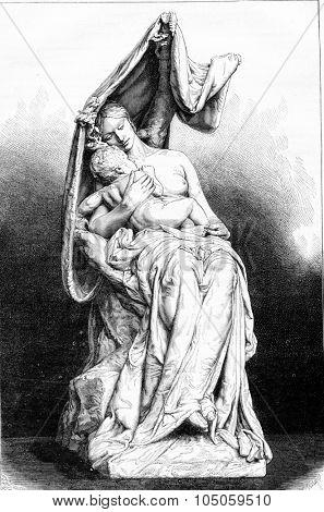 Resting, sculpture by Alfred Lenoir, vintage engraved illustration. Magasin Pittoresque 1882.