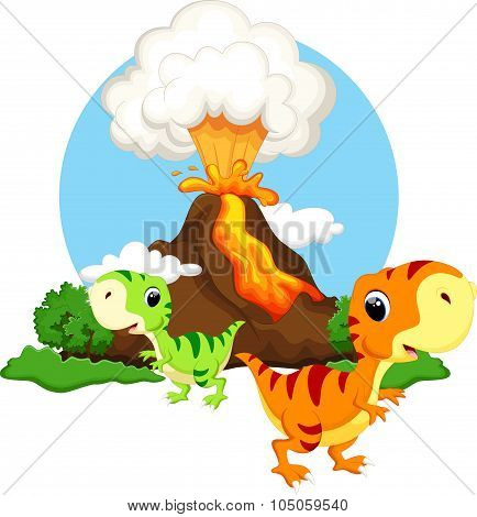 Cute baby dinosaur with background volcanoes