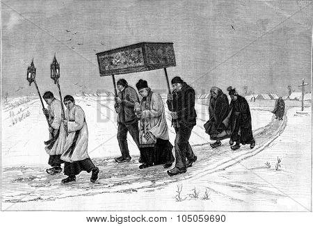 Viaticum in Burgundy, in the snow, vintage engraved illustration. Magasin Pittoresque (1882).
