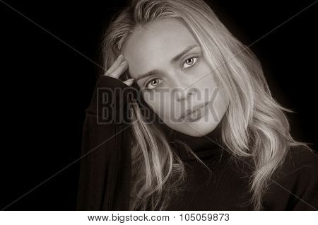 Gorgeous Classic Blond Model On Black Background