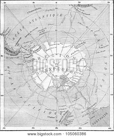 Map of the South Pole, vintage engraved illustration. Magasin Pittoresque (1882).