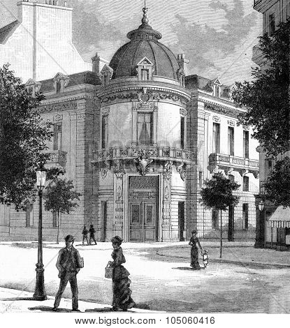 Front Circle bookstore and printing in Paris Boulevard Saint-Germain, vintage engraved illustration. Magasin Pittoresque (1882).
