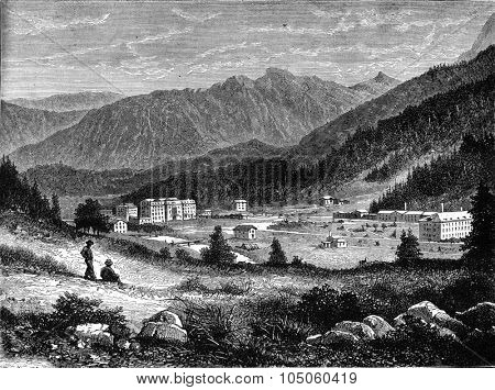 The baths of Saint Moritz, the establishment of the baths, the Hotel Victoria, vintage engraved illustration. Magasin Pittoresque (1882).