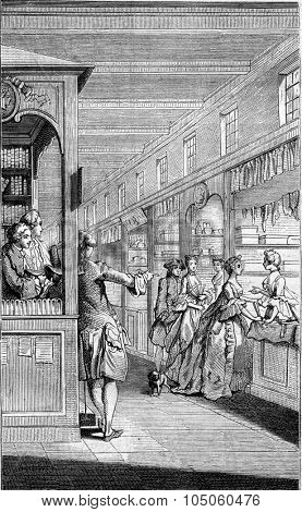 A Bookseller eighteenth century, vintage engraved illustration. Magasin Pittoresque 1882.