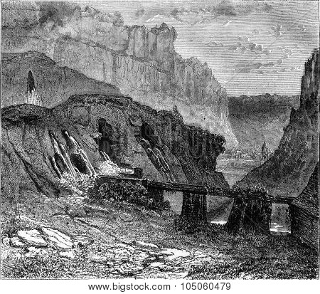 Sources of the Seille, Jura, vintage engraved illustration. Magasin Pittoresque 1878.