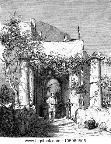 Entering an inn in Capri, drawing by Karl Girardet after Nature, vintage engraved illustration. Magasin Pittoresque (1882).