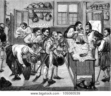 The Consultation, table of the beginning of the seventeenth century, vintage engraved illustration. Magasin Pittoresque (1882).
