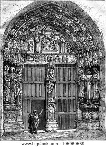 North portal of the Church of Villeneuve-l Archeveque, Yonne, vintage engraved illustration. Magasin Pittoresque 1878.