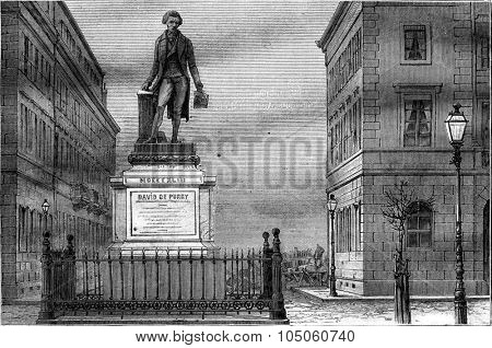 The Purry Place in Neuchatel, the statue of David Purry by David Angers, vintage engraved illustration. Magasin Pittoresque 1878.