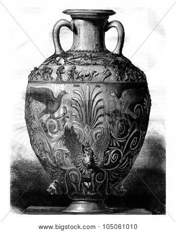 Greek vase in silver from the Hermitage Museum in St. Petersburg, vintage engraved illustration. Magasin Pittoresque 1878.