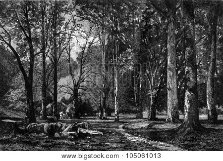 Clogmakers in wood Quimerch (Finistere), painting by Camille Bernier, vintage engraved illustration. Magasin Pittoresque 1878.