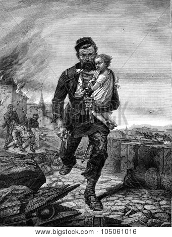 The Maubonne Corporal painting by Andre Reverchon, vintage engraved illustration. Magasin Pittoresque 1878.