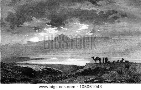 Peak and Lake Tessala, near Oran, vintage engraved illustration. Magasin Pittoresque 1878.